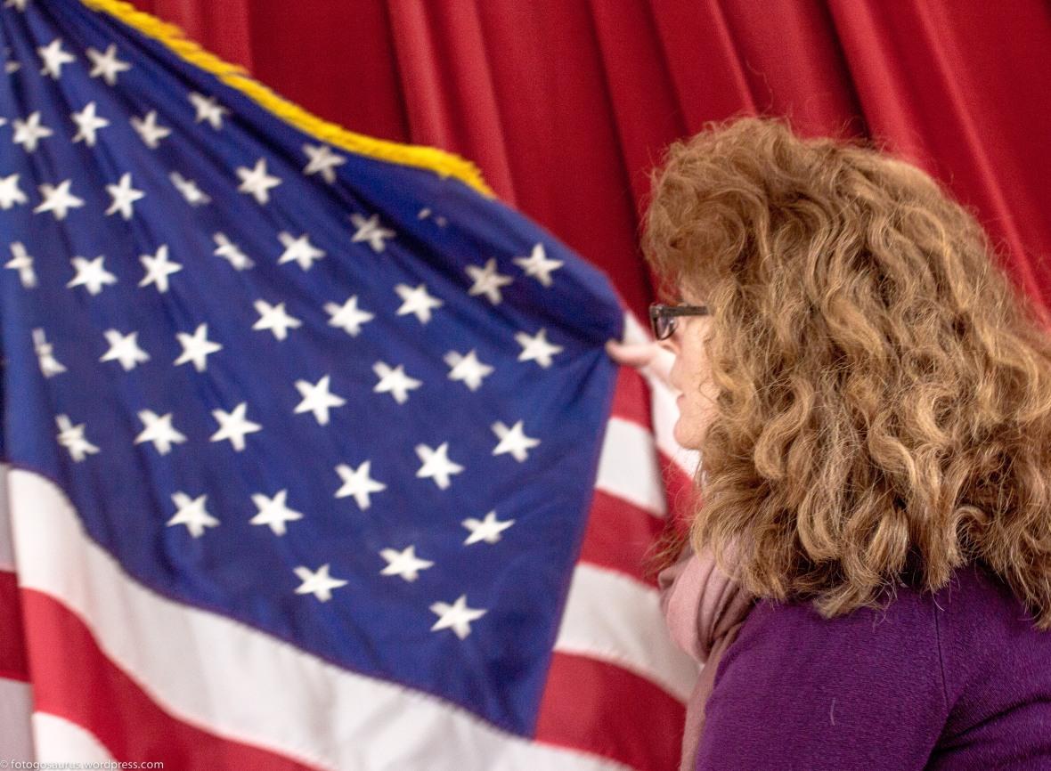 town meeting 16 linda and american flag
