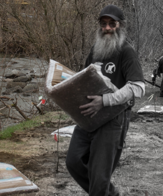 volunteer with beard carrying soil