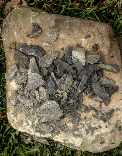 crushed stone chips on large rock