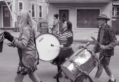 drum band on march at corner