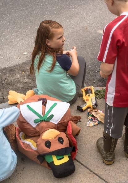 kids on sidewalk turkey doll
