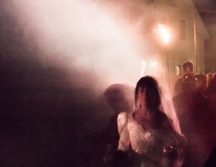 bride in smoke