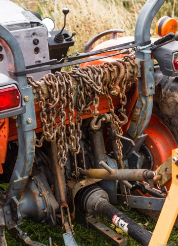 chains on the tractor
