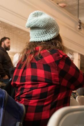 red shirt wool hat