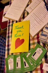 thank you card on table with materials
