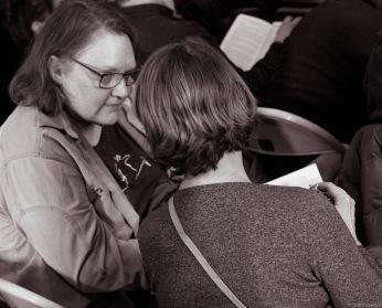 two women in crowd